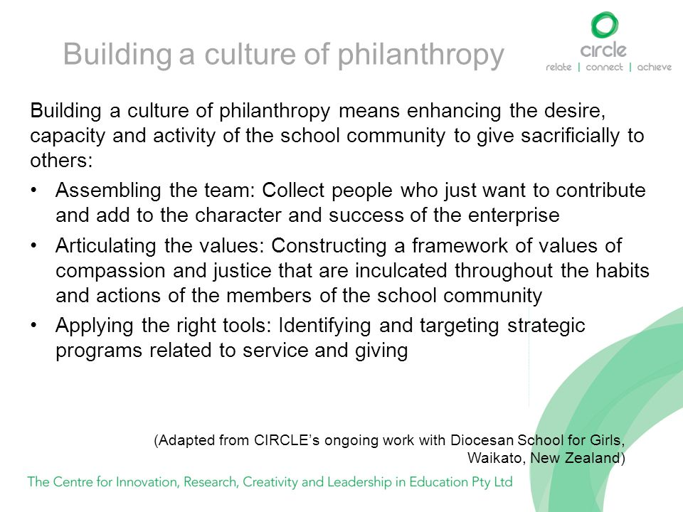 Building a culture of philanthropy Building a culture of philanthropy means enhancing the desire, capacity and activity of the school community to giv