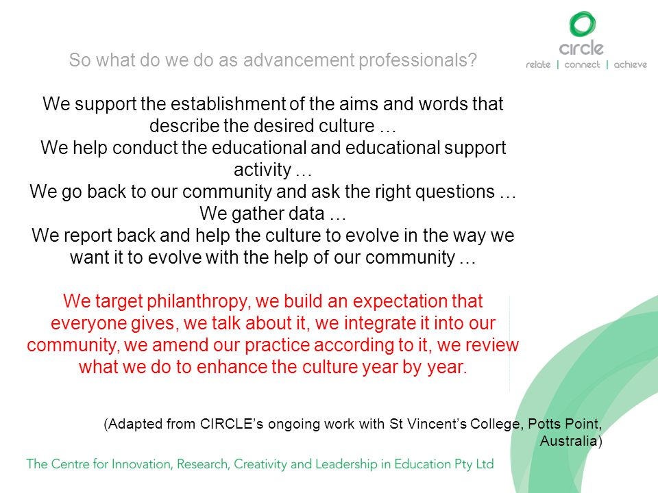 So what do we do as advancement professionals? We support the establishment of the aims and words that describe the desired culture … We help conduct