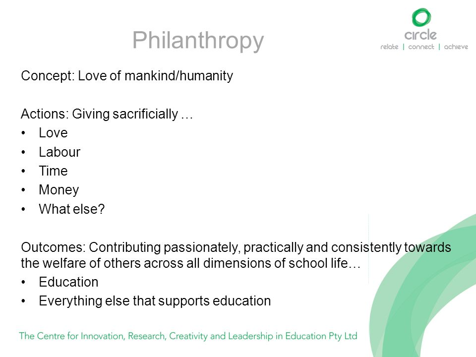 Philanthropy Concept: Love of mankind/humanity Actions: Giving sacrificially … Love Labour Time Money What else? Outcomes: Contributing passionately,
