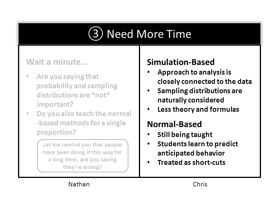③ Need More Time Wait a minute… Are you saying that probability and sampling distributions are *not* important.