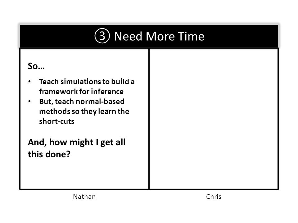 ③ Need More Time So… Teach simulations to build a framework for inference But, teach normal-based methods so they learn the short-cuts And, how might I get all this done.