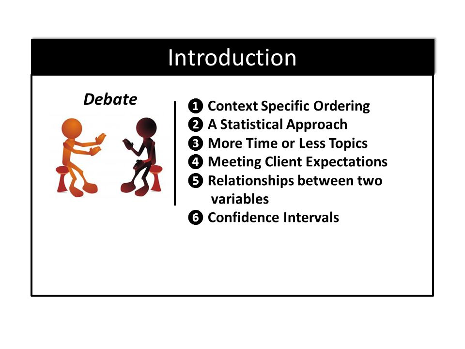 ❶ Context Specific Ordering ❷ A Statistical Approach ❸ More Time or Less Topics ❹ Meeting Client Expectations ❺ Relationships between two variables ❻ Confidence Intervals Debate