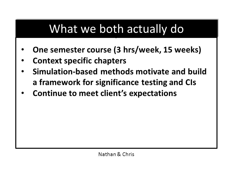 One semester course (3 hrs/week, 15 weeks) Context specific chapters Simulation-based methods motivate and build a framework for significance testing and CIs Continue to meet client's expectations Nathan & Chris