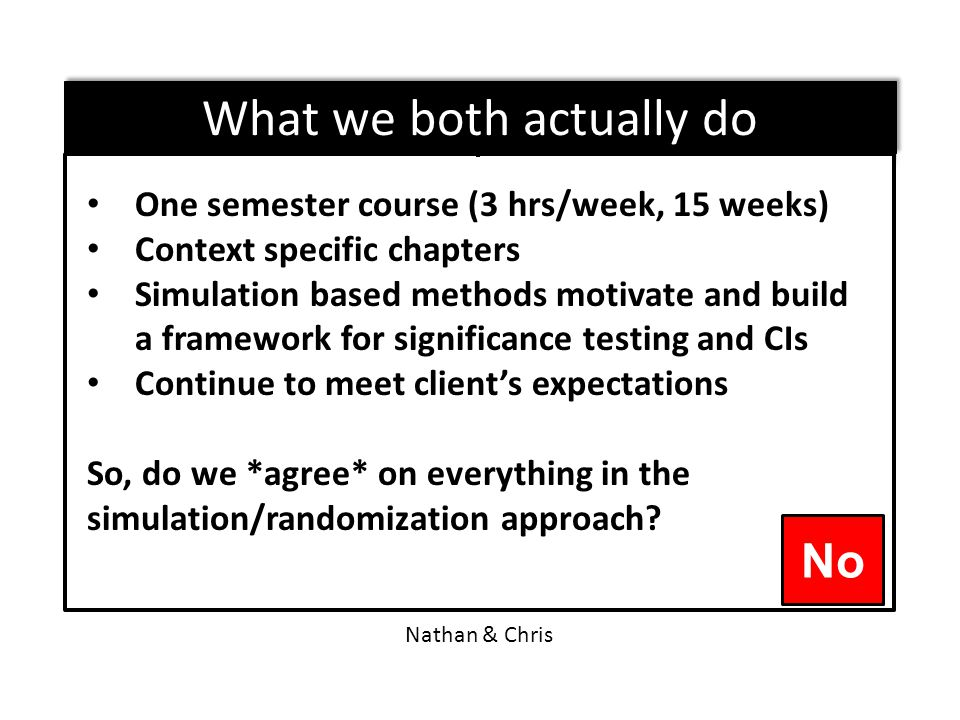 One semester course (3 hrs/week, 15 weeks) Context specific chapters Simulation based methods motivate and build a framework for significance testing and CIs Continue to meet client's expectations So, do we *agree* on everything in the simulation/randomization approach.
