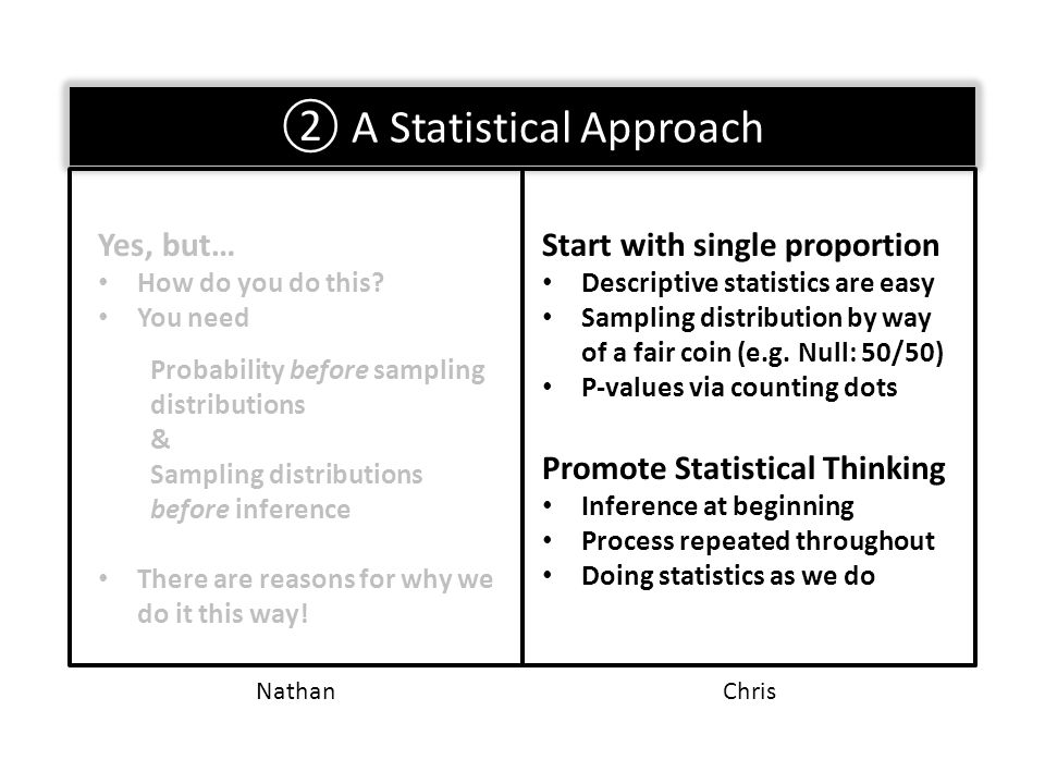 ② A Statistical Approach Seriously… Like a statistician would do.
