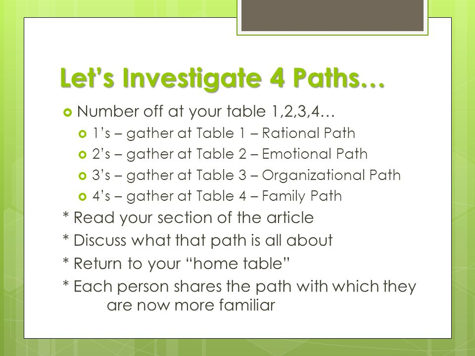 Let's Investigate 4 Paths…  Number off at your table 1,2,3,4…  1's – gather at Table 1 – Rational Path  2's – gather at Table 2 – Emotional Path 