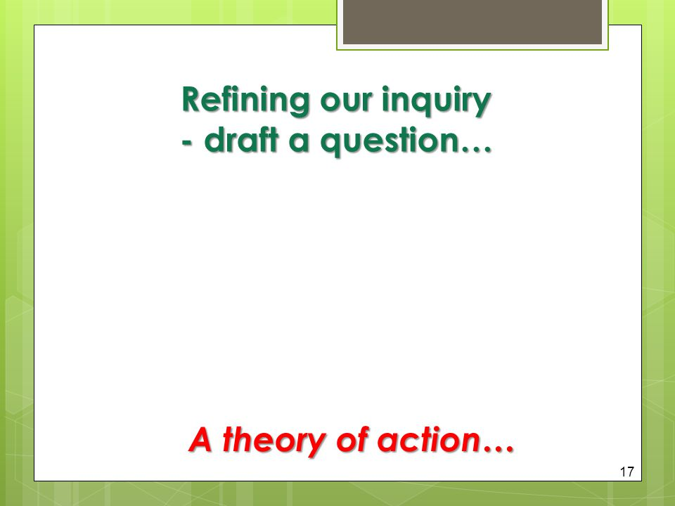 Refining our inquiry - draft a question… 17 A theory of action…