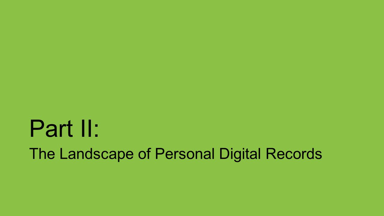 Part II: The Landscape of Personal Digital Records