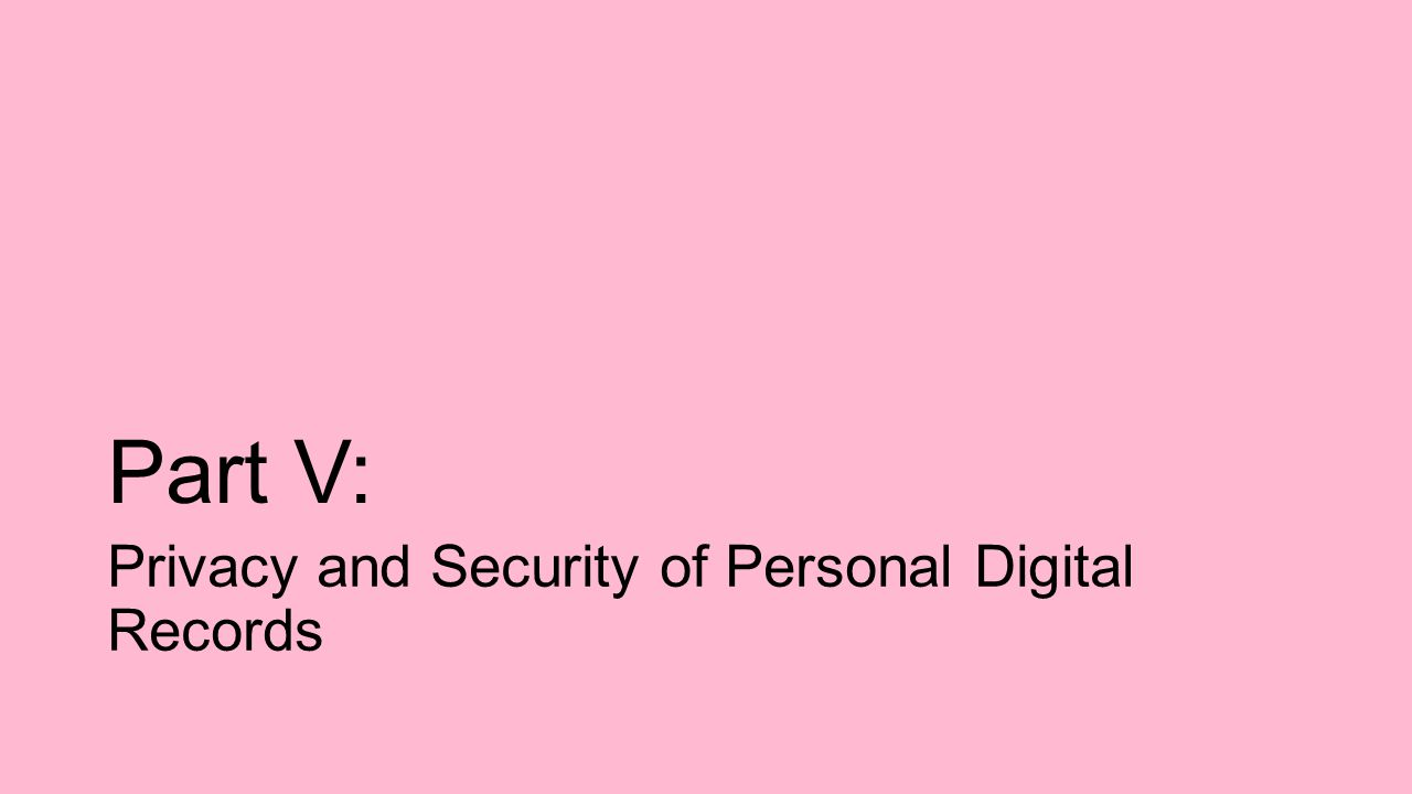 Part V: Privacy and Security of Personal Digital Records