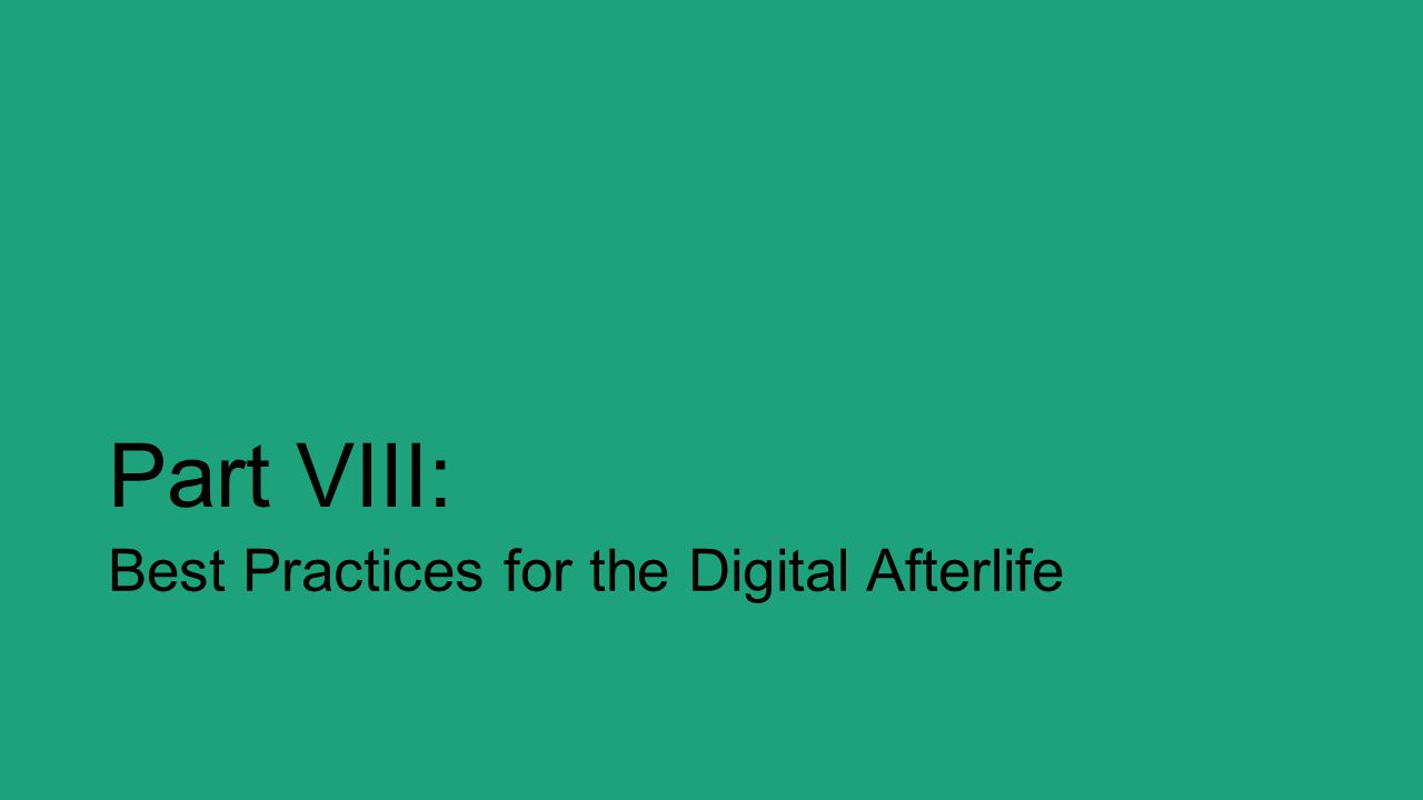 Part VIII: Best Practices for the Digital Afterlife