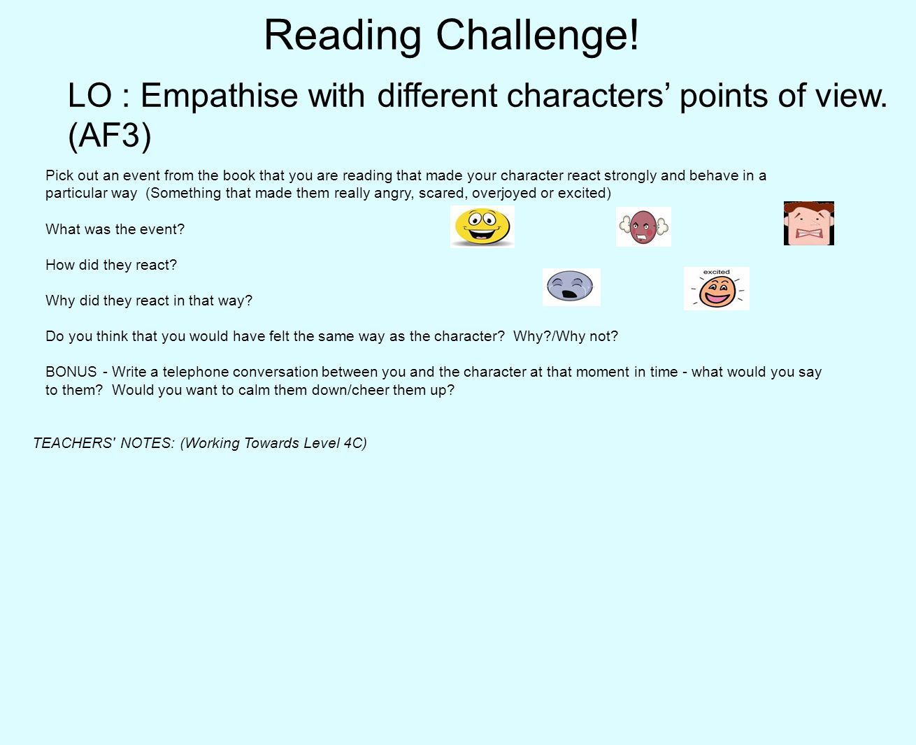 Reading Challenge.LO : Empathise with different characters' points of view.