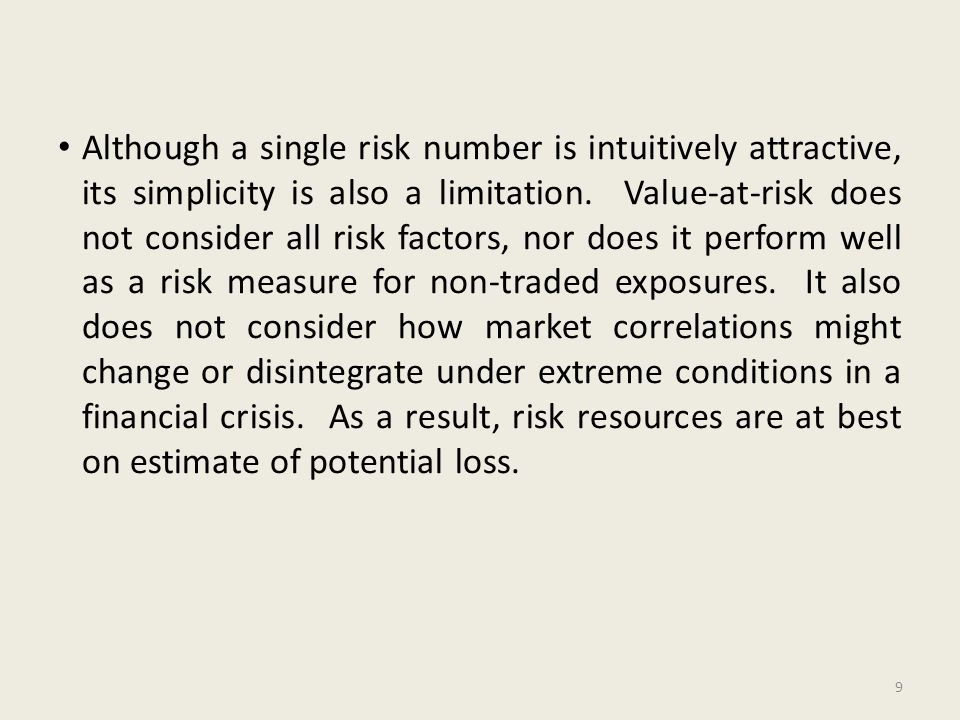 Although a single risk number is intuitively attractive, its simplicity is also a limitation. Value-at-risk does not consider all risk factors, nor do