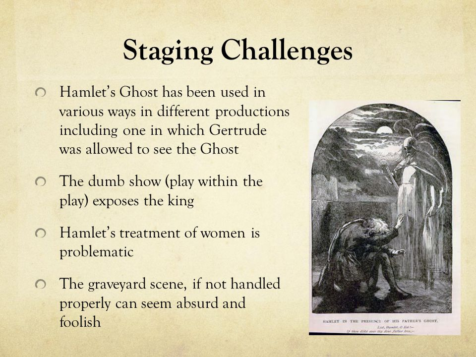Staging Challenges Hamlet's Ghost has been used in various ways in different productions including one in which Gertrude was allowed to see the Ghost The dumb show (play within the play) exposes the king Hamlet's treatment of women is problematic The graveyard scene, if not handled properly can seem absurd and foolish