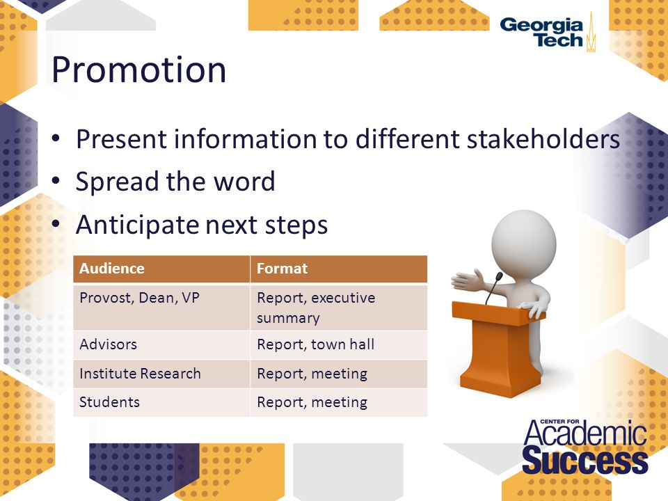 Promotion Present information to different stakeholders Spread the word Anticipate next steps AudienceFormat Provost, Dean, VPReport, executive summary AdvisorsReport, town hall Institute ResearchReport, meeting StudentsReport, meeting