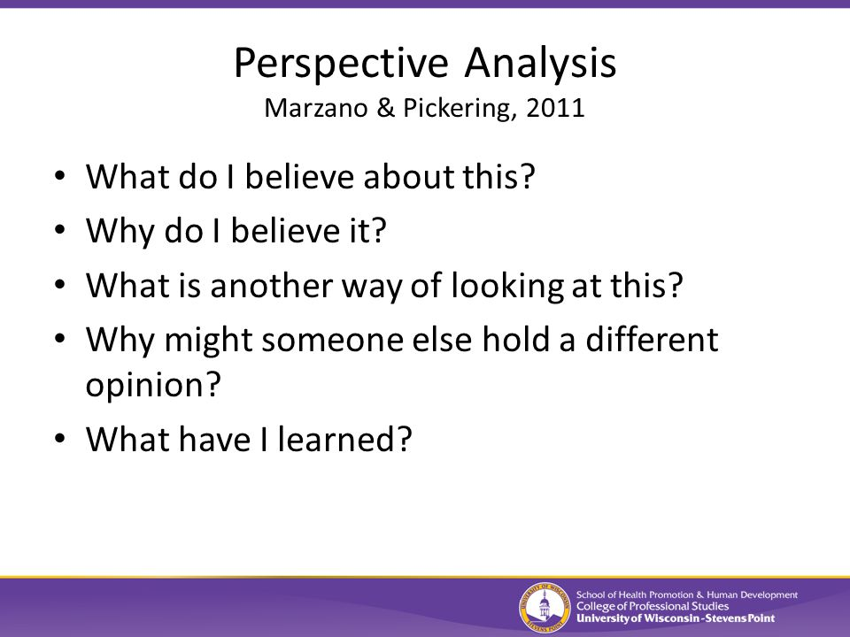 Perspective Analysis Marzano & Pickering, 2011 What do I believe about this.