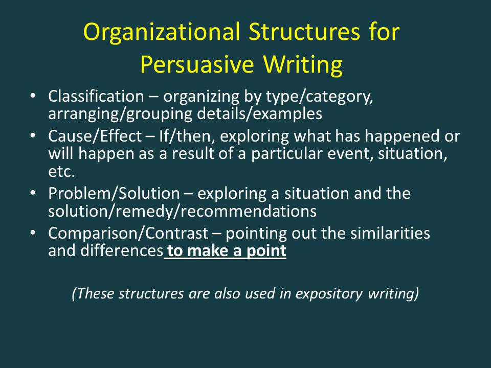 Organizational Structures for Persuasive Writing Classification – organizing by type/category, arranging/grouping details/examples Cause/Effect – If/t
