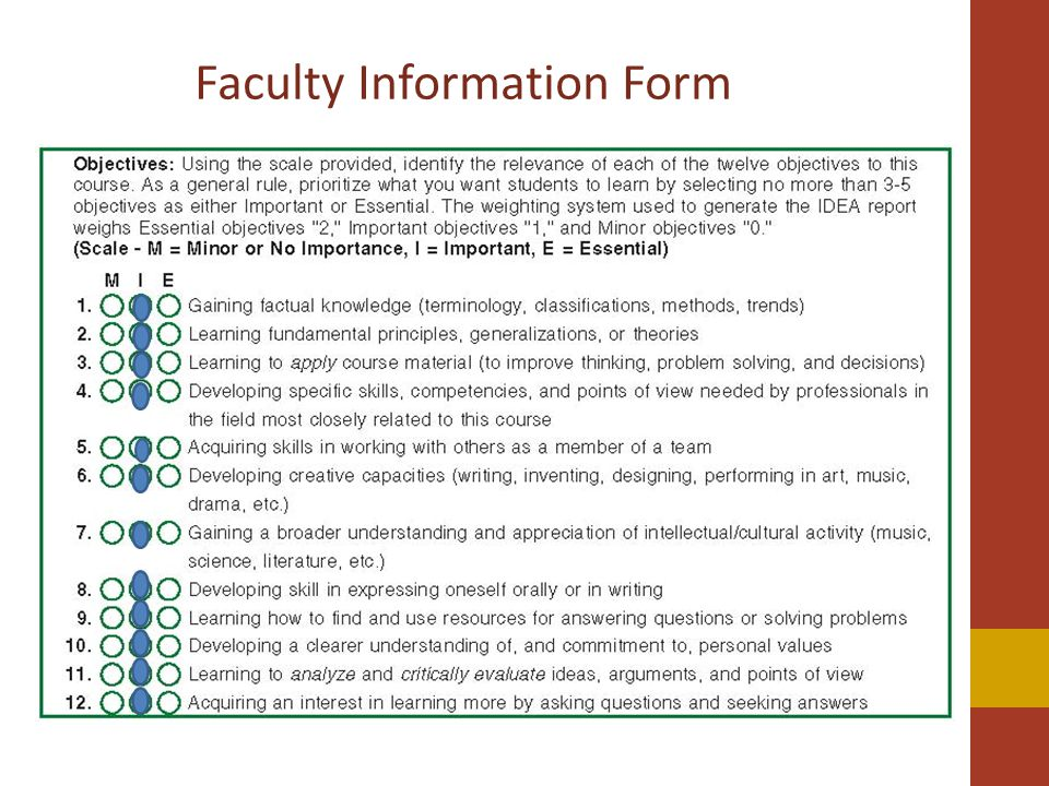 Faculty Information Form