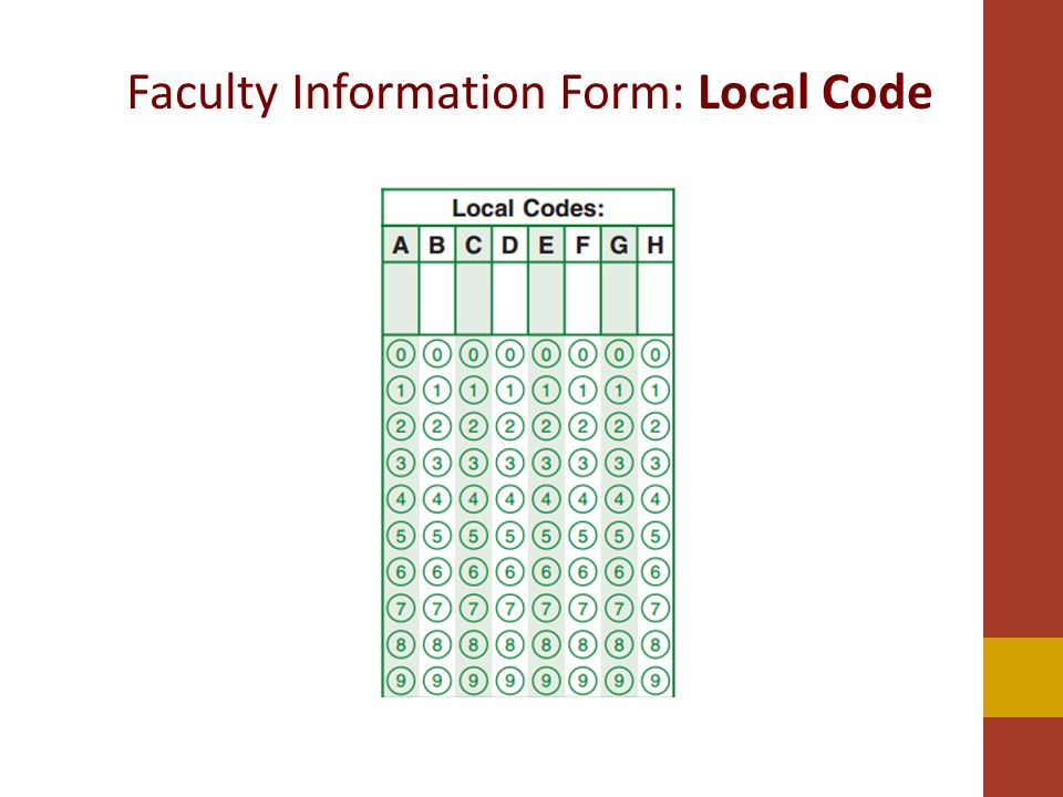 Faculty Information Form: Local Code