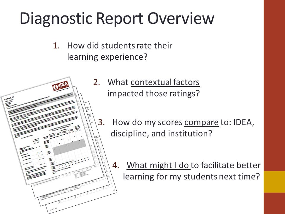 Diagnostic Report Overview 1.How did students rate their learning experience.