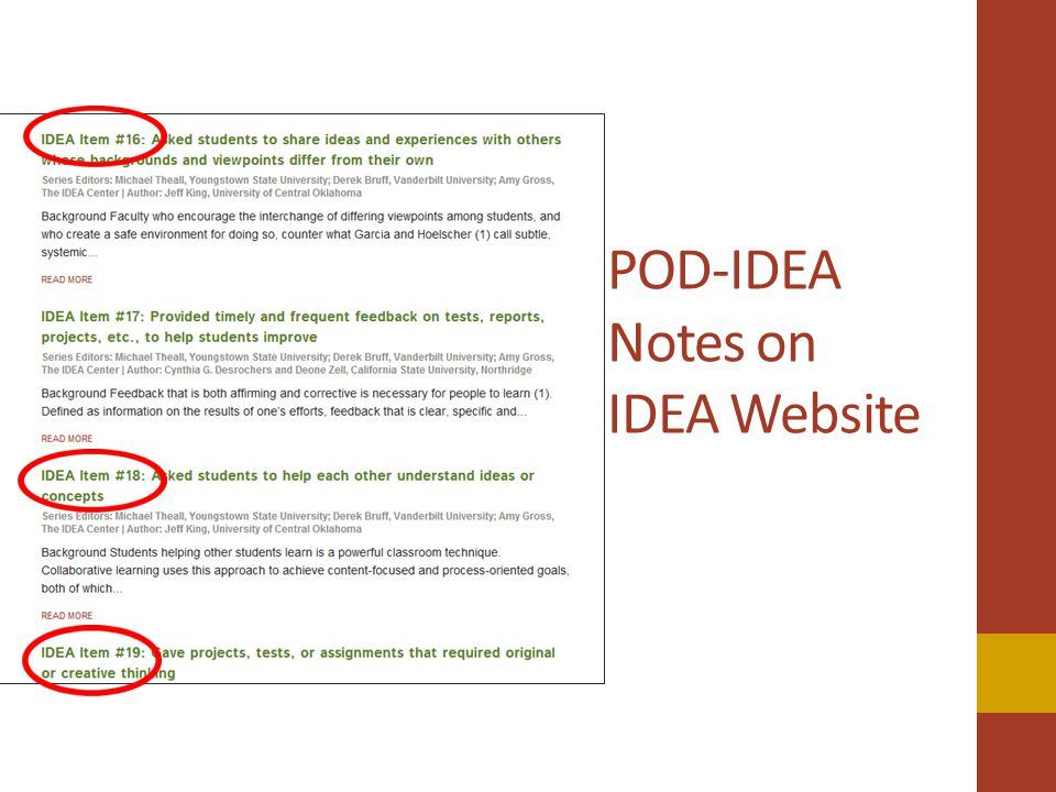 POD-IDEA Notes on IDEA Website