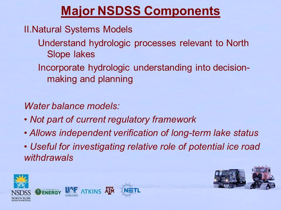 Major NSDSS Components III.