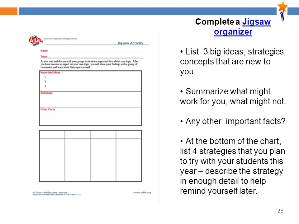 23 Complete a Jigsaw organizerJigsaw organizer List 3 big ideas, strategies, concepts that are new to you.