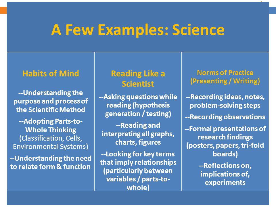 7 A Few Examples: Science Habits of Mind --Understanding the purpose and process of the Scientific Method --Adopting Parts-to- Whole Thinking (Classif
