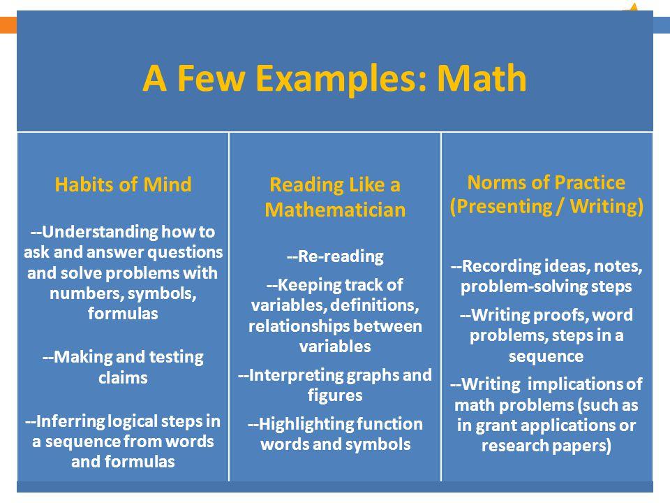10 A Few Examples: Language Arts Habits of Mind --Understanding symbolism, metaphor, themes, etc.
