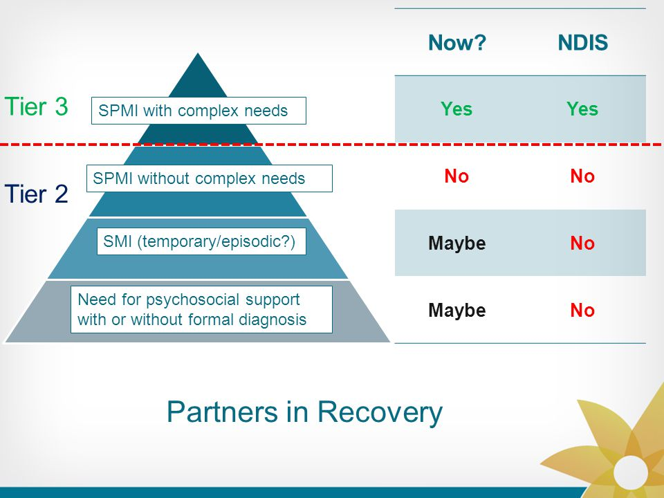 SPMI with complex needs SPMI without complex needs SMI (temporary/episodic ) Need for psychosocial support with or without formal diagnosis Partners in Recovery Now NDIS Yes No MaybeNo MaybeNo Tier 3 Tier 2