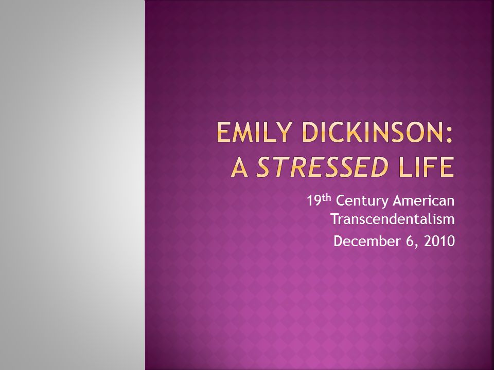 19 th Century American Transcendentalism December 6, 2010