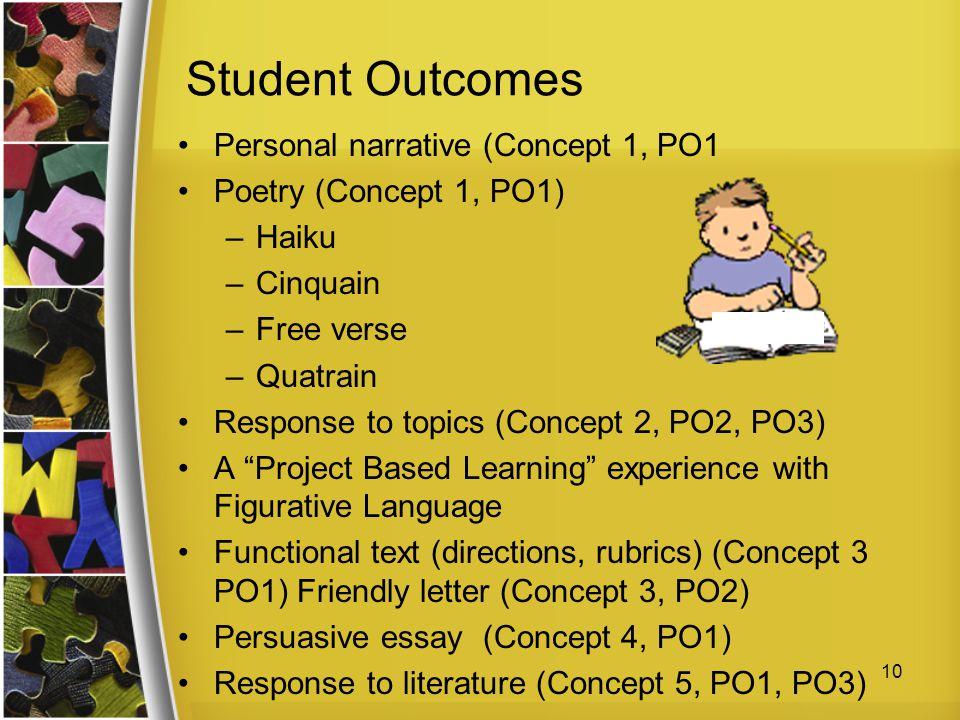 Student Outcomes Personal narrative (Concept 1, PO1 Poetry (Concept 1, PO1) –Haiku –Cinquain –Free verse –Quatrain Response to topics (Concept 2, PO2,