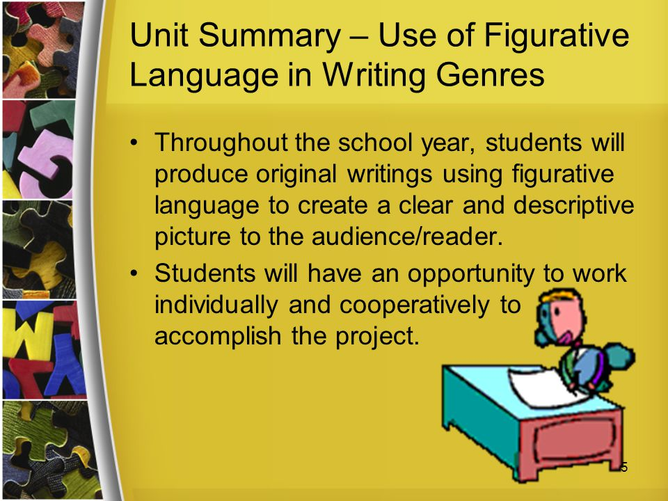 Unit Summary – Use of Figurative Language in Writing Genres Throughout the school year, students will produce original writings using figurative langu
