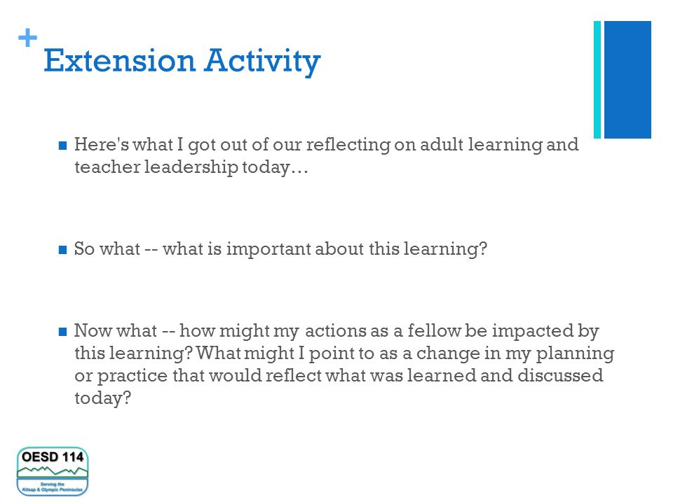 + Extension Activity Here s what I got out of our reflecting on adult learning and teacher leadership today… So what -- what is important about this learning.