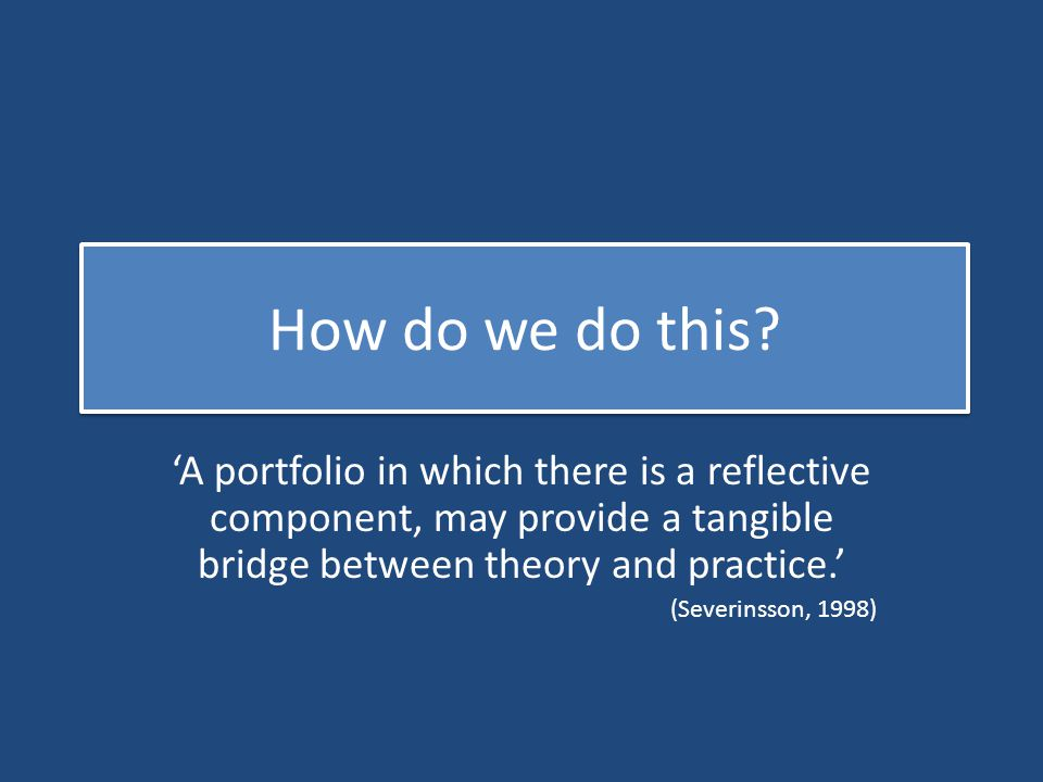How do we do this? 'A portfolio in which there is a reflective component, may provide a tangible bridge between theory and practice.' (Severinsson, 19