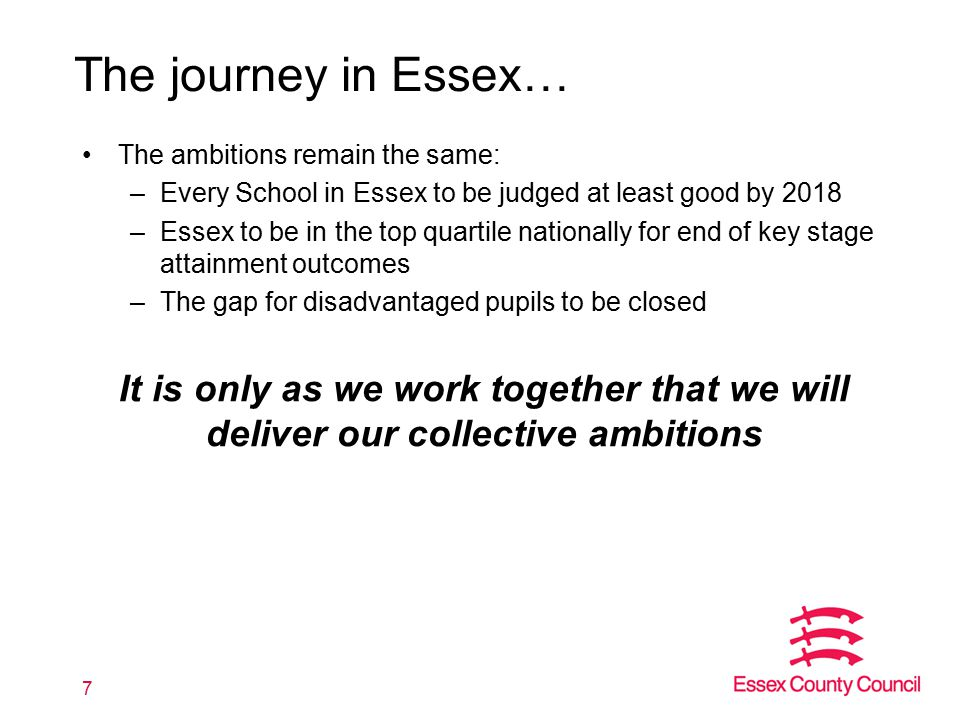 The journey in Essex… The ambitions remain the same: –Every School in Essex to be judged at least good by 2018 –Essex to be in the top quartile nation
