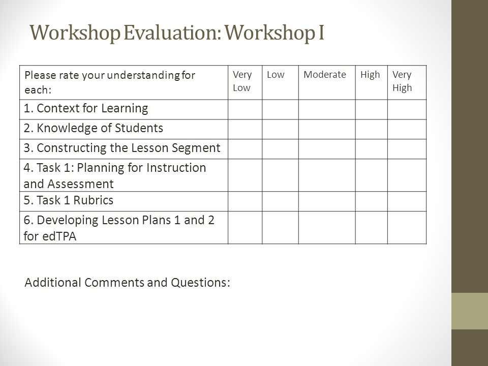 Workshop Evaluation: Workshop I Please rate your understanding for each: Very Low LowModerateHighVery High 1.