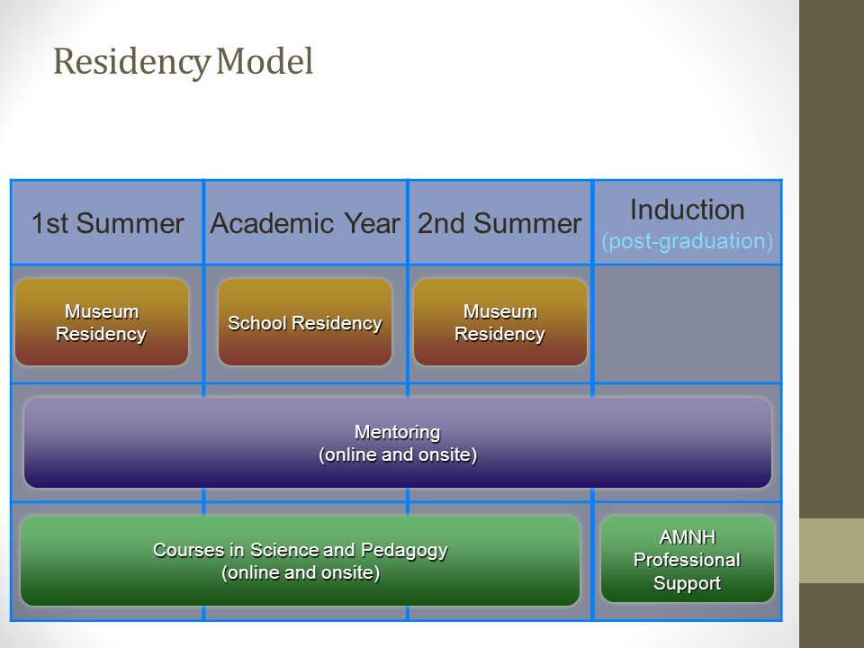 1st SummerAcademic Year2nd Summer Induction (post-graduation) Mentoring (online and onsite) Courses in Science and Pedagogy (online and onsite) AMNH Professional Support Museum Residency School Residency Museum Residency Residency Model