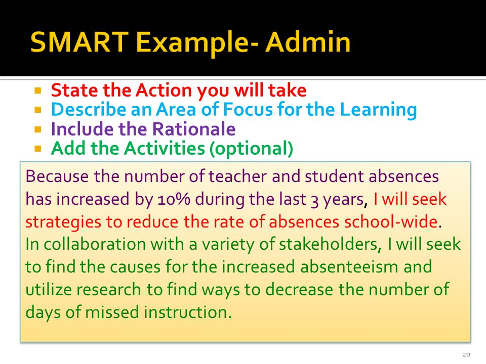  State the Action you will take  Describe an Area of Focus for the Learning  Include the Rationale  Add the Activities (optional) Because the number of teacher and student absences has increased by 10% during the last 3 years, I will seek strategies to reduce the rate of absences school-wide.