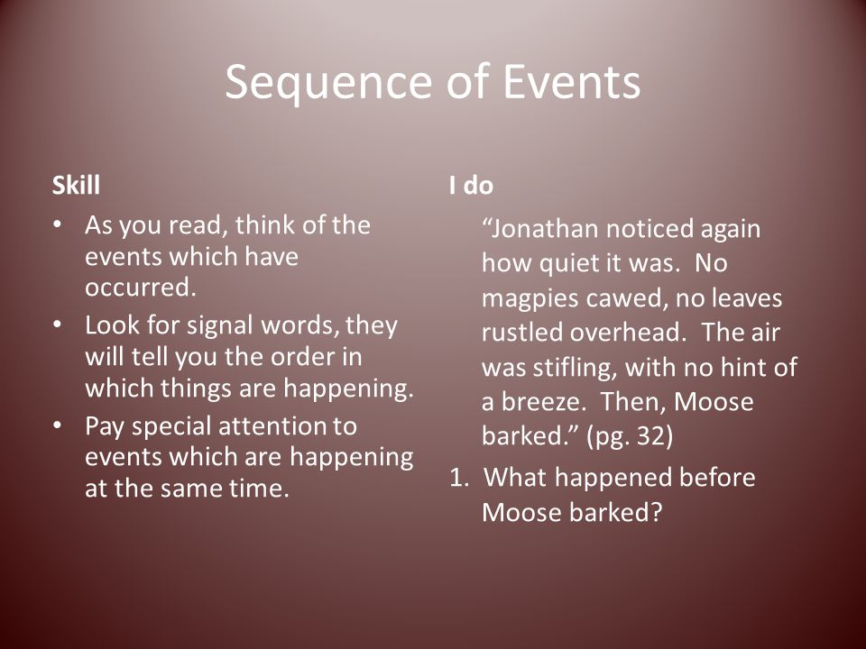 Sequence of Events Skill As you read, think of the events which have occurred. Look for signal words, they will tell you the order in which things are