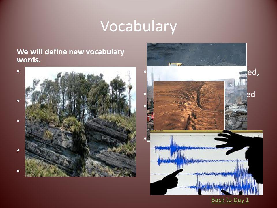 Vocabulary We will define new vocabulary words. Debris: the remains of something broken or destroyed Devastation: destruction or ruin Fault: a break i