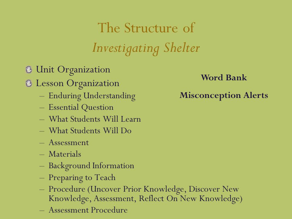 The Structure of Investigating Shelter Unit Organization Lesson Organization –Enduring Understanding –Essential Question –What Students Will Learn –What Students Will Do –Assessment –Materials –Background Information –Preparing to Teach –Procedure (Uncover Prior Knowledge, Discover New Knowledge, Assessment, Reflect On New Knowledge) –Assessment Procedure Word Bank Misconception Alerts