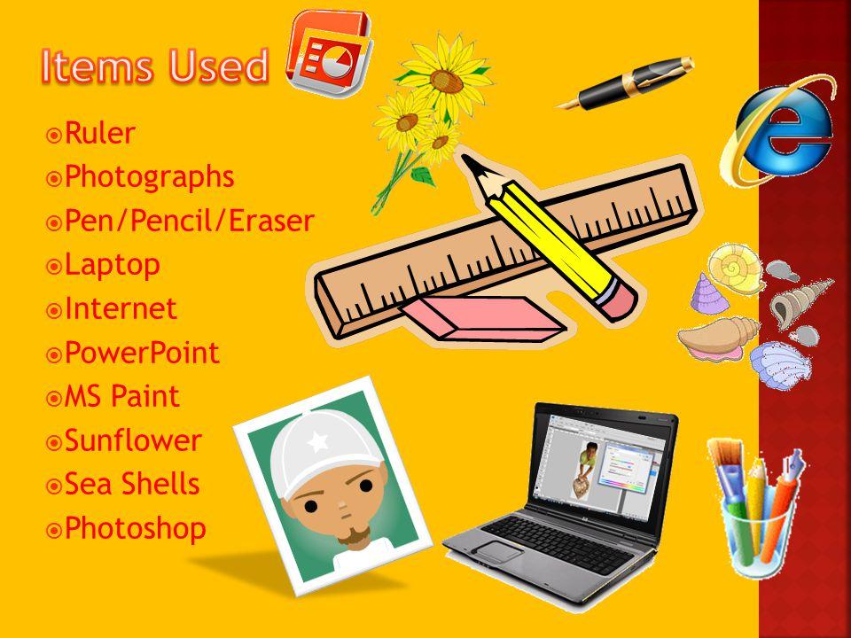  Ruler  Photographs  Pen/Pencil/Eraser  Laptop  Internet  PowerPoint  MS Paint  Sunflower  Sea Shells  Photoshop