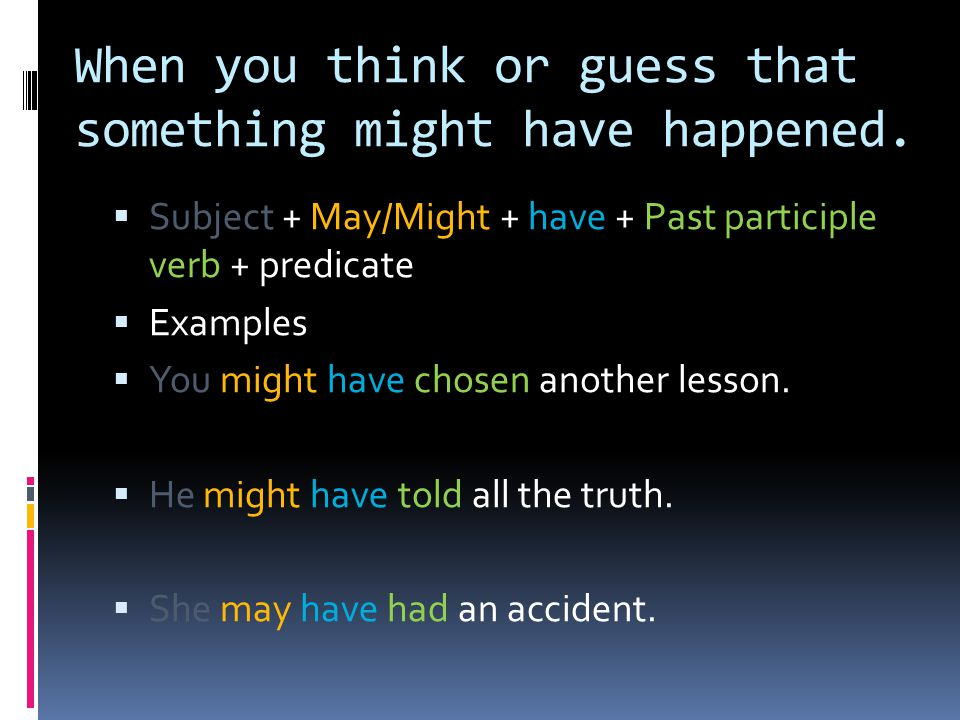 When you think or guess that something might have happened.  Subject + May/Might + have + Past participle verb + predicate  Examples  You might hav
