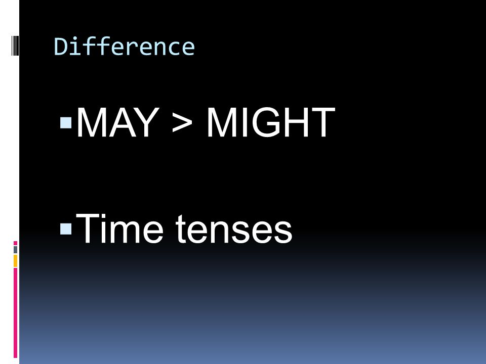 Difference  MAY > MIGHT  Time tenses