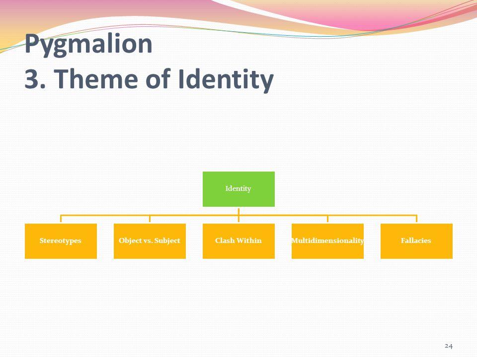 Pygmalion 3. Theme of Identity Identity StereotypesObject vs. SubjectClash WithinMultidimensionalityFallacies 24