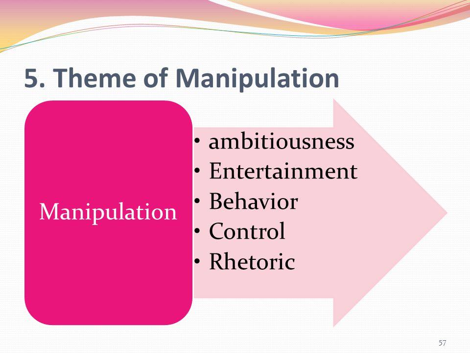 5. Theme of Manipulation ambitiousness Entertainment Behavior Control Rhetoric Manipulation 57