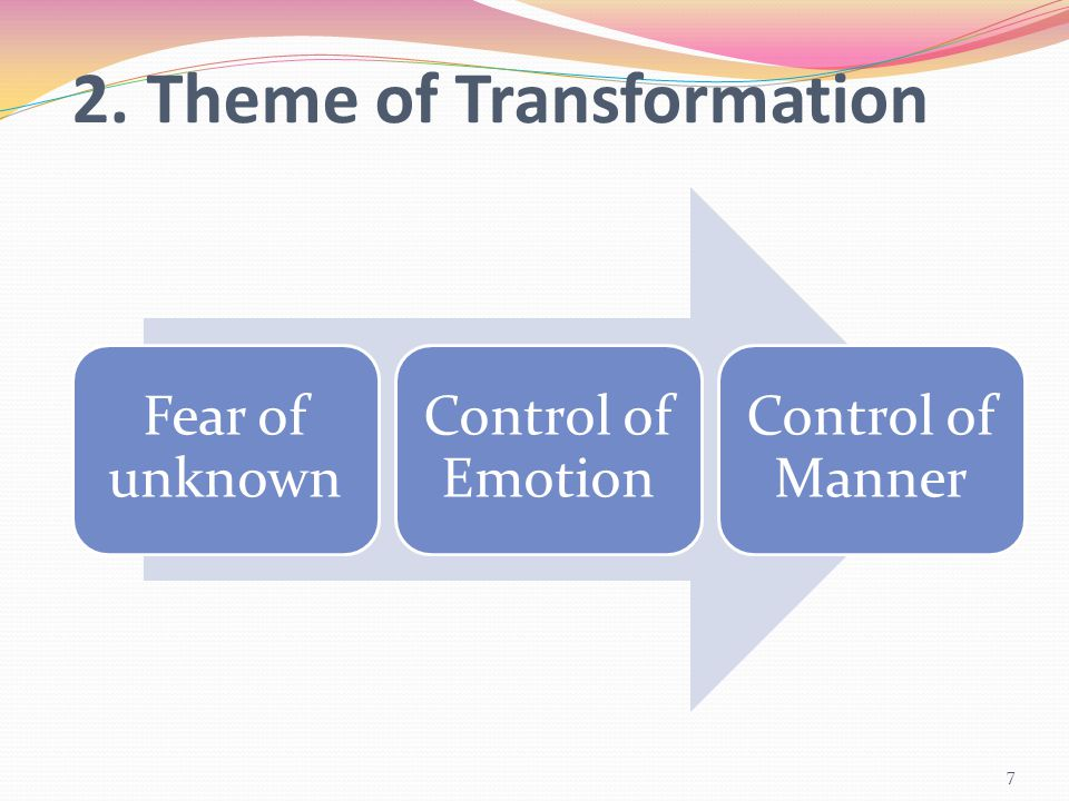 2. Theme of Transformation Fear of unknown Control of Emotion Control of Manner 7