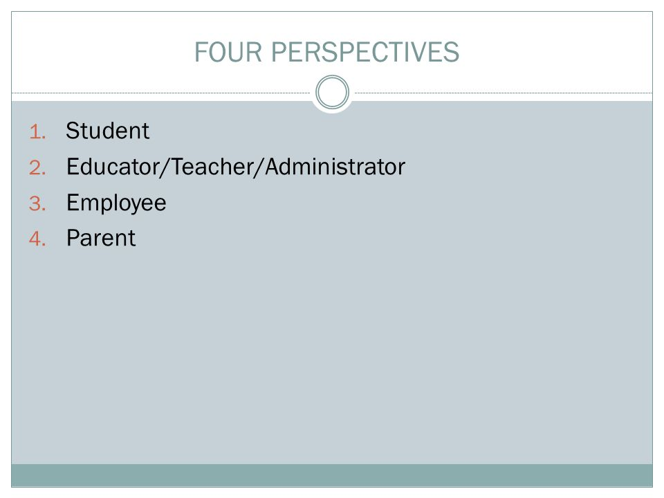 1. Student 2. Educator/Teacher/Administrator 3. Employee 4. Parent FOUR PERSPECTIVES