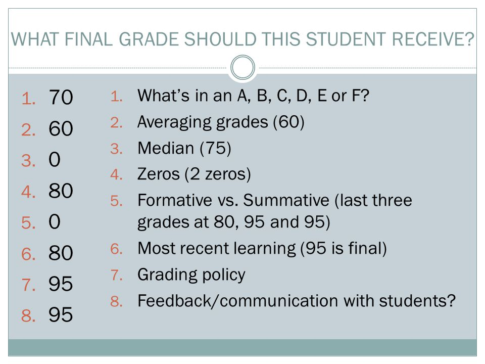 1. 70 2. 60 3. 0 4. 80 5. 0 6. 80 7. 95 8. 95 WHAT FINAL GRADE SHOULD THIS STUDENT RECEIVE.