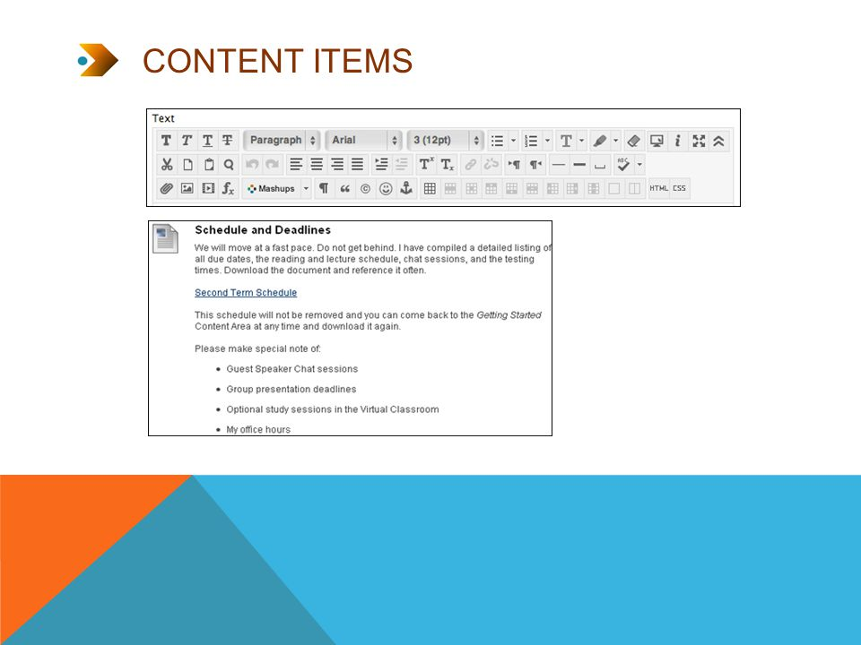 CONTENT ITEMS